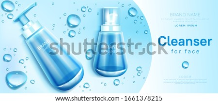 Cleanser for face cosmetics bottle mockup banner. Skin care cosmetic pump tube on blue background with water drops. Facial cleansing product packaging design, promo. Realistic 3d vector illustration