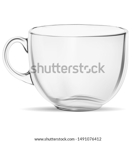 Clear Coffee Cup Mockup. Transparent Tea Glass Mug Isolate. 3d Realistic Crystal Glassware with Reflection. Cup for Perfect Cappuccino with Caffeine and Foam. Isolated Illustration of Glass Cup