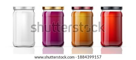 Clear Full Glass Jar For Branding. EPS10 Vector Zdjęcia stock ©
