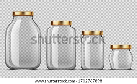 Clear Glass Jars For Canning And Preserving Set. EPS10 Vector Zdjęcia stock ©
