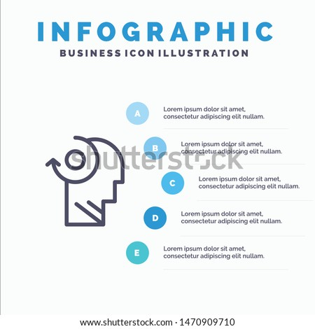 Clear, Mind, Your, Head Line icon with 5 steps presentation infographics Background. Vector Icon Template background