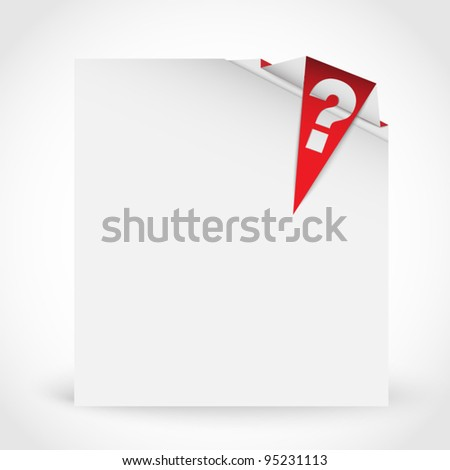 Clear paper with red corner with question mark - stock vector