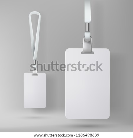 Clear plastic badge id card with white neck lanyard. Realistic vector illustration