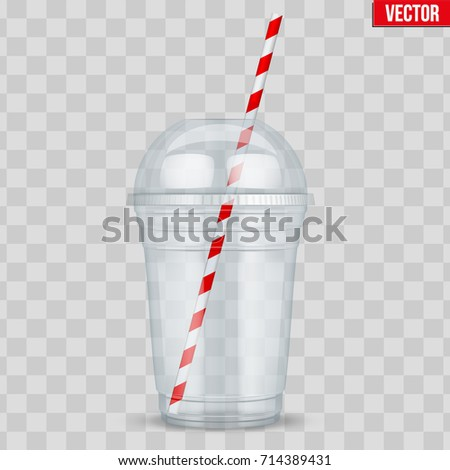 Clear plastic cup with sphere dome cap and tube. For milkshake and lemonade and smoothie. Vector Illustration on transparent background.