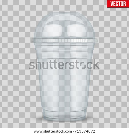 Clear plastic cup with sphere dome cap. For milkshake and lemonade and smoothie. Vector Illustration on transparent background.