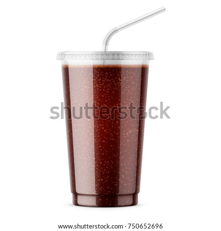 Clear plastic disposable cup with flat lid and drinking straw. Filled with soda. 450 ml. Realistic packaging mockup template. Front view. Vector illustration.