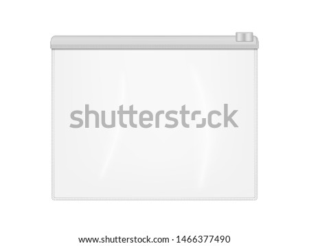 Clear plastic envelope folder bag with zip lock isolated on white background, realistic vector mockup. Transparent file or badge holder, zipper document case - mock-up.