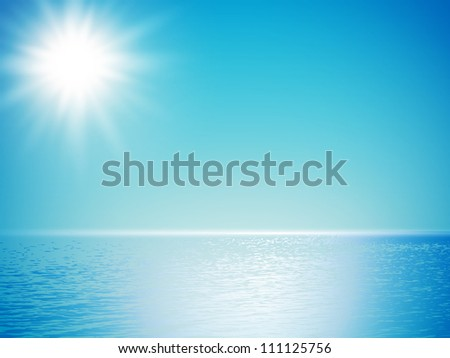 clear sea horizon over blue sky