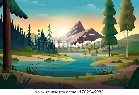 Clear turquoise mountain lake view. Rocky mountains on the river bank. Dawn or sunset in the mountains above the lake