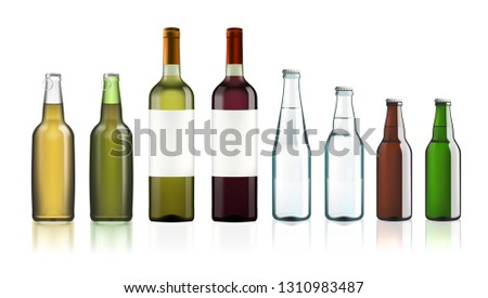 Clear Water Or Beer Glass Bottles Set Isolated On White. EPS10 Vector #1310983487