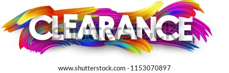 Clearance banner with spectrum brush strokes on white background. Sales and promotion template. Colorful gradient brush design. Vector paper illustration.