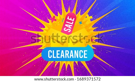 Clearance sale icon. Flare light flash banner. Discount banner box. Special offer icon. Gradient shape background. Promotional flyer design. Clearance sale promotion. Vector