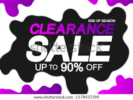 Clearance Sale, poster design template, up to 90% off, end of season, vector illustration