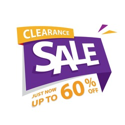 Clearance Sale purple yellow 60 percent off heading design for banner or poster. Sale and Discounts Concept. Vector illustration.