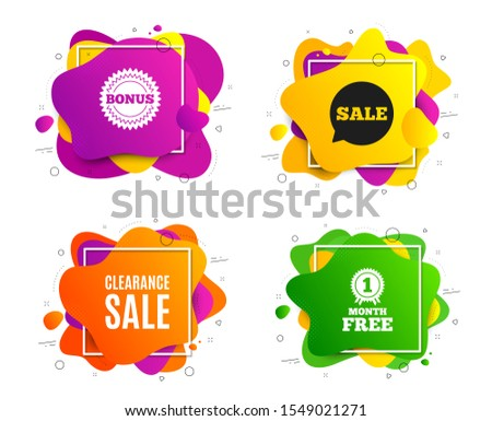 Clearance sale symbol. Liquid shape, various colors. Special offer price sign. Advertising discounts symbol. Geometric vector banner, square frames. Clearance sale text. Gradient shape badge. Vector