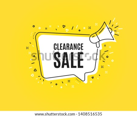 Clearance sale symbol. Megaphone banner. Special offer price sign. Advertising discounts symbol. Loudspeaker with speech bubble. Clearance sale sign. Marketing and advertising tag. Vector