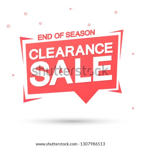 Clearance Sale, tag design template, discount speech bubble banner, end of season, app icon, vector illustration