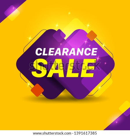 Clearance Sale Text Yellow and purple Background