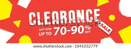 Clearance 70 to 90 percent off Banner vector heading design fun style for banner or poster. Sale and Discounts Concept.