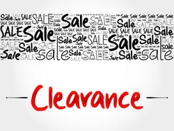 Clearance word cloud background, business concept