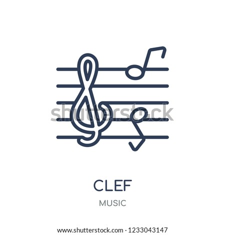Clef icon. Clef linear symbol design from music collection. Simple outline element vector illustration on white background