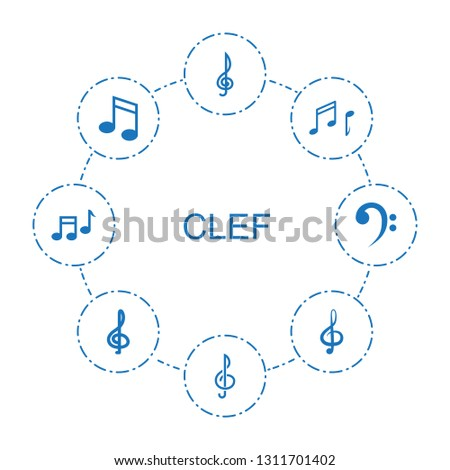 clef icons. Trendy 8 clef icons. Contain icons such as treble clef, note, music note, bass clef. icon for web and mobile.