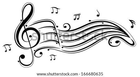 clef with music sheet and music