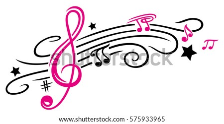 clef with stars and music notes