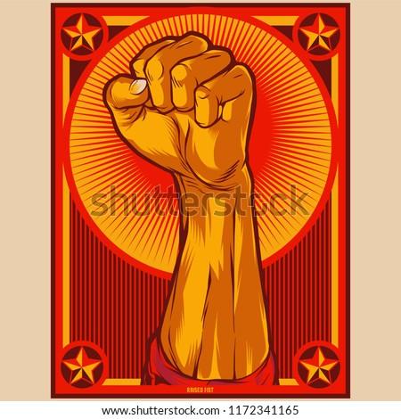 Clenched Fist Propaganda Poster Illustration. Protest fist. Raised fist revolution design elements.