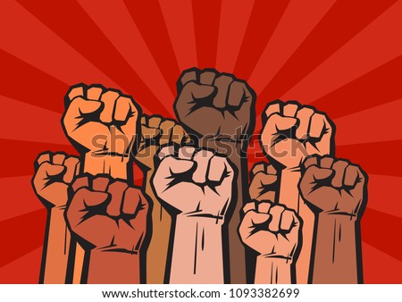 Clenched fists of different colors raised in protest on background with sun rays. Concept of international unity and cooperation. Protest, strength, freedom,  revolution, rebel, revolt symbol.