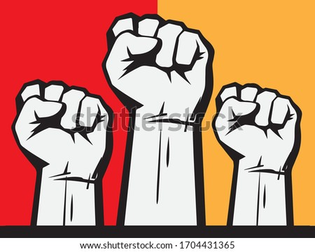 Clenched fists raised in protest. Three human hands raised in the air. Vector illustration isolated on white background. Foto stock ©