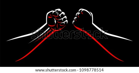 Clenched mma fight bump fists teamplate. Male power martial arts arms isolated on black dark background. Karate, boxing, wrestling fighter square off