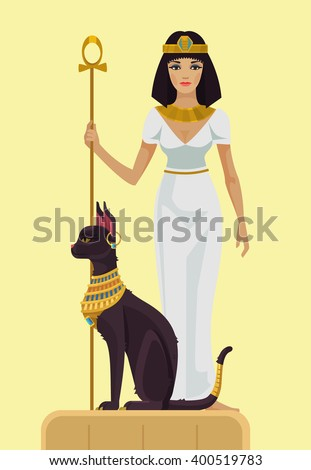 cleopatra and black cat vector