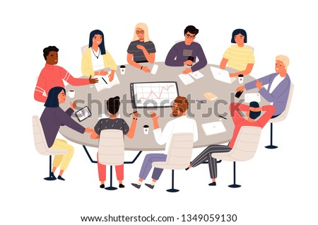 Clerks or colleagues sitting at round table and discussing ideas or brainstorming. Business meeting, formal negotiation, conference, group discussion. Vector illustration in flat cartoon style.