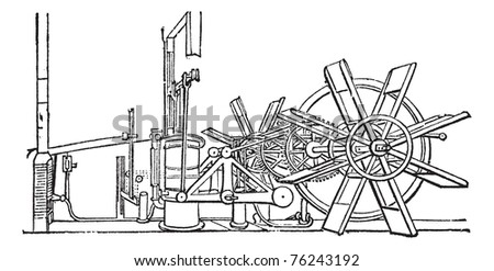 Clermont Steam Ship paddle wheel unit, vintage engraving. Old engraved illustration of the paddle wheel unit of the Clermont Steam Ship.