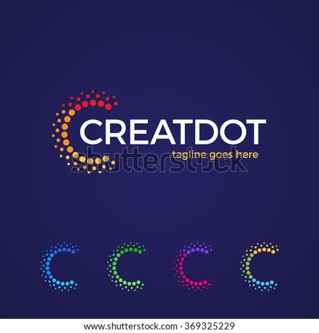 Clever and creative, dots or point letter C logo. Smart and idea logotype