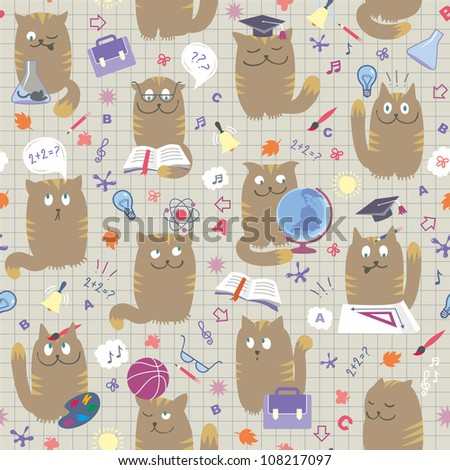 Clever School Cats - Seamless Pattern - stock vector