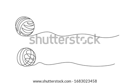 Clew ball of thread. Continuous one line drawing vector illustration Сток-фото ©