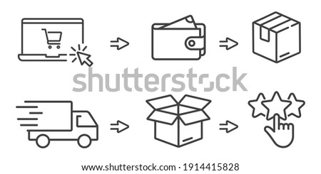click and collect order, icon, delivery truck, delivery services steps, receive order in pick up point, e-commerce business concept, vector illustration Foto stock ©