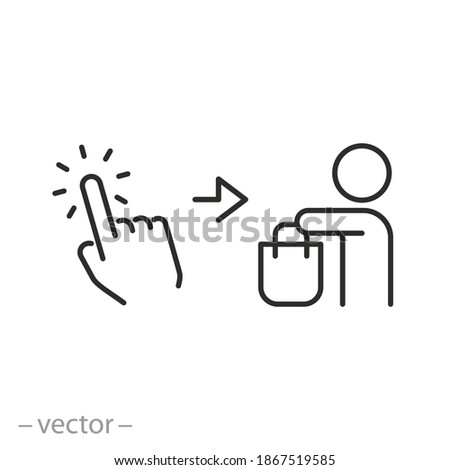 click and collect order, icon, receive order in pick up point contact, delivery collection free, e-commerce concept - editable stroke vector illustration eps 10