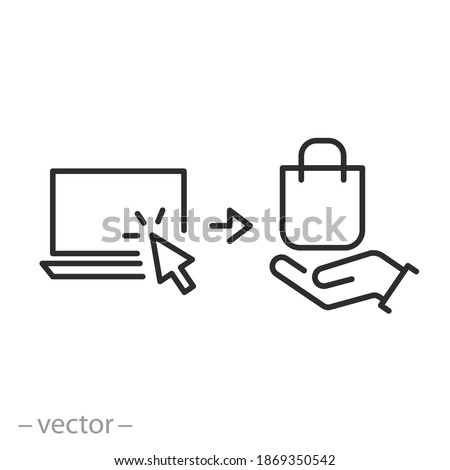 click and collect order online, icon, receive order in pick up point, delivery food services steps, hand holding paper bag, - editable stroke vector illustration eps 10 Foto stock ©