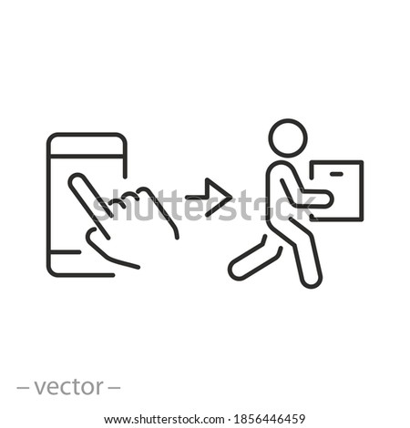 click buy and collect order, icon, receive order in pick up point, delivery services steps, online store concept - editable stroke line vector illustration Stockfoto ©