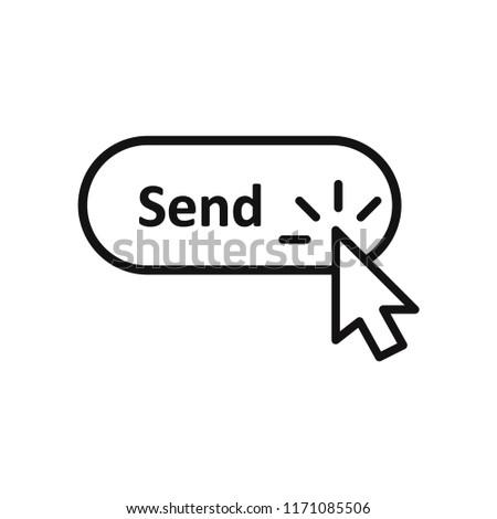 Click cursor clicking Send button vector icon