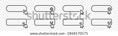 Click cursor set button with hand pointer clicking. Click here web button sign. Isolated website buy or register bar icon with hand finger arrow clicking cursor – stock vector