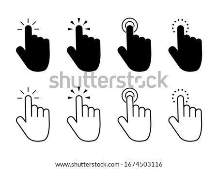 Click finger icon set. Hand touching of cursor. Choose pointer symbol for website, app. Black mouse pointer for technology interface. Tap sign. Touch gesture icon on isolated background. vector