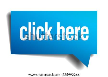 click here blue 3d realistic