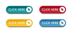 Click here button with arrow pointer clicking icon. Click here vector web button. Web button with action of arrow pointer. Click here, UI button concept. Vector illustration