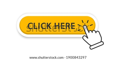Click here button with hand pointer clicking. Click here vector web button. Web button with action of hand pointer. Click here, UI button concept. Vector illustration