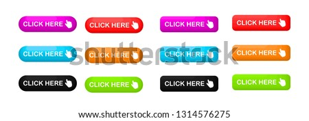 Click Here colorful button set. icons web Isolated on white background. Vector Illustration. #1314576275