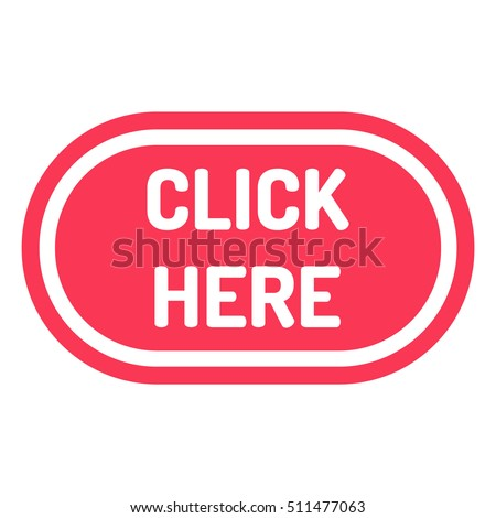 Click here. Flat vector red icon design illustration on white background.